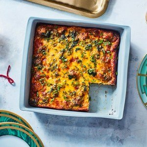 Cowboy Breakfast Casserole with Sausage and Spinach