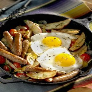 Sausage Breakfast Skillet with Sautéed Tomatoes and Basil