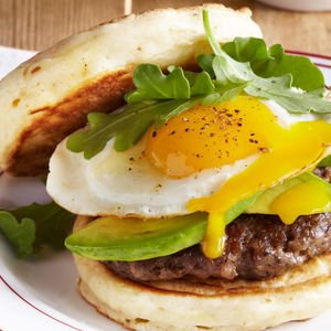 Pancake Breakfast Sandwich with Sausage and Avocado